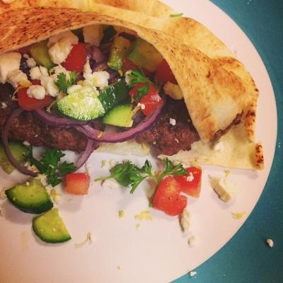 Lamb Burger W/ Feta Greek Salad Topping