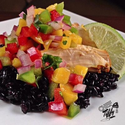Mango Salsa Chicken Over Black Rice