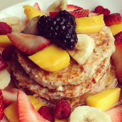 Mixed Fruit Protein Pancakes