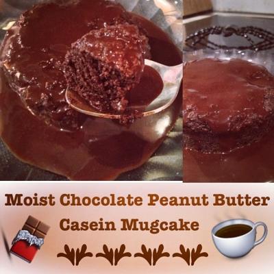 Moist Chocolate Peanut Butter Casein Mugcake