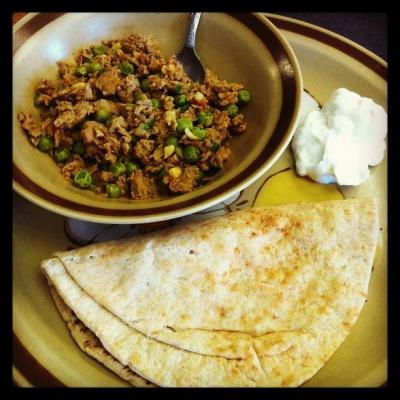 Muttar Chicken Keema - Indian Dish