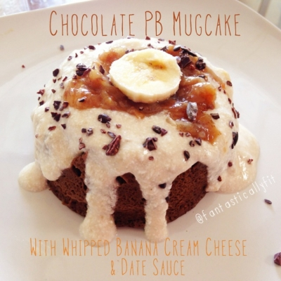 No Sugar Added Chocolate Peanut Butter Mug Cake With Banana Whipped Cottage Cheese & Date Sauce
