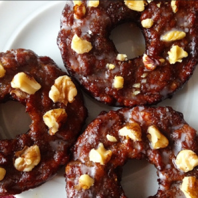 Paleo Maple Glazed Banana Walnut Donuts