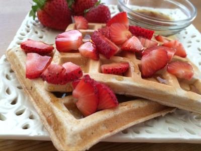 Paleo Strawberries N Cream Waffles