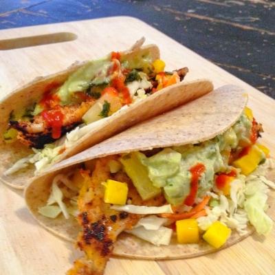 Panko Flaked Tilapia Tacos