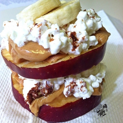 Pb, Banana & Cottage Cheese Apple Stack