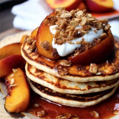Peach Crisp Protein Pancakes