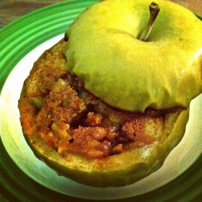 Peanut Butter and Cinnamon Baked Apple