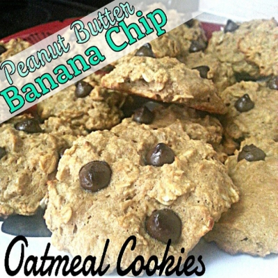 Peanut Butter Banana Chip Oatmeal Cookies