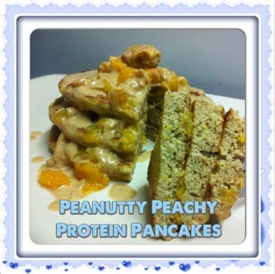 Peanutty Peachy Protein Pancakes