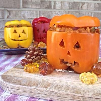 Pepper Jack O Lanterns Stuffed With Vegan Pumpkin Chili