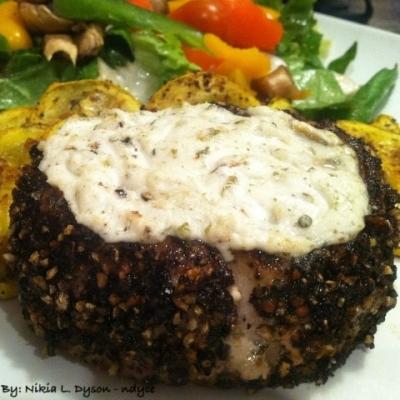 Peppercorn and Ginger Crusted Ahi Tuna Steak With Goat Cheese
