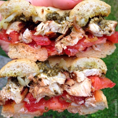 Pesto Chicken Low Carb Bagel Sandwich
