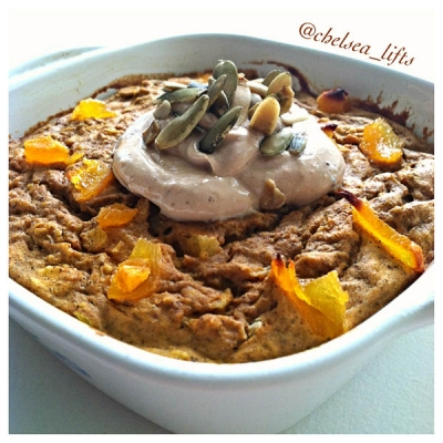 Protein Pumpkin Apricot Baked Oats