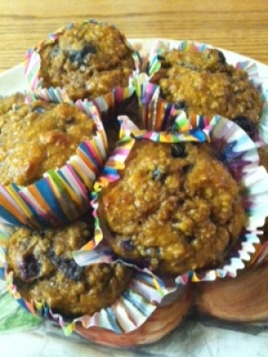 Pumpkin Banana Blueberry Protein Muffins