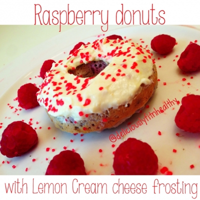 Raspberry Donuts With Lemon Cream Cheese Frosting