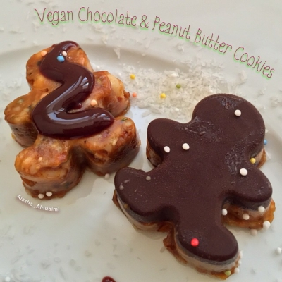 Raw Chocolate and Peanut Butter Cookies