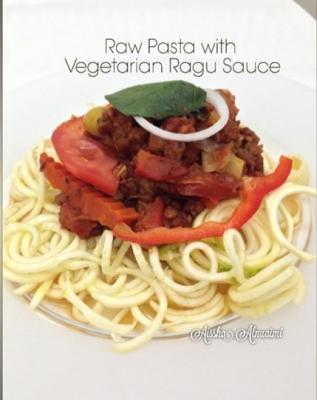 Raw Zuchinni Pasta With Vegetarian Ragu Sauce
