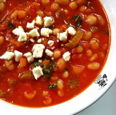 Roasted Red Pepper, White Bean & Arugula Soup