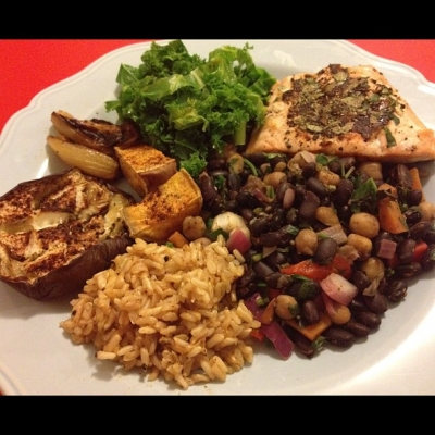 Salmon With Eggplant, Bean Salad, Rice and Kale
