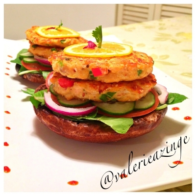 Sesame Salmon Burgers On a Grilled Portobello Mushroom Bun
