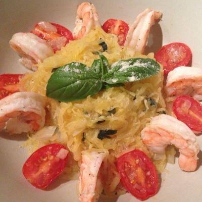Shrimp & Basil Skinny Spaghetti Squash
