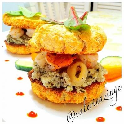 Shrimp Calamari Coconut Biscuit Burgers