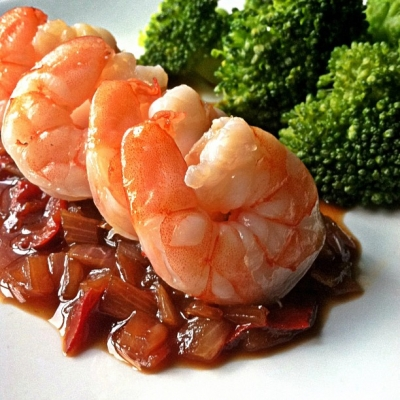 Shrimp Over Sweet & Sour Tamarind Sauce