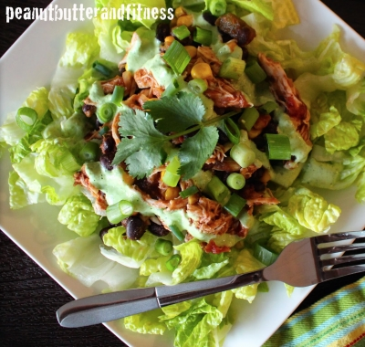 Slow Cooker Chicken Taco Salad With Tangy Cilantro Lime Dressing