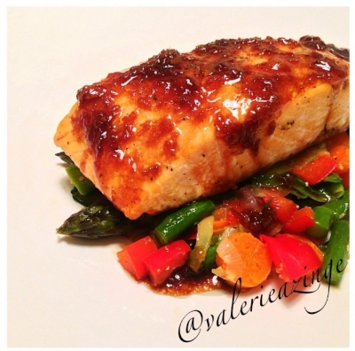 Ripped Recipes - Slow Roasted Salmon With Ginger Glaze and Veggie Stir ...