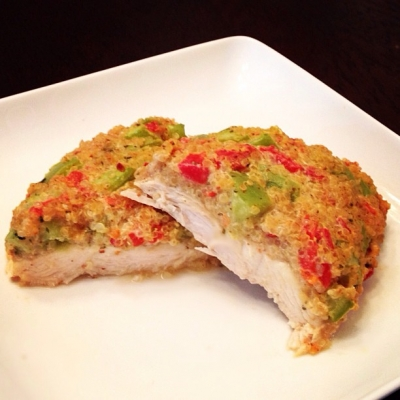Spicy Pepper Quinoa Crusted Chicken