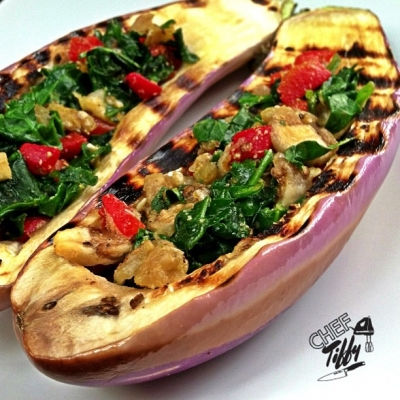 Spinach & Roasted Red Pepper Grilled Eggplant Boats