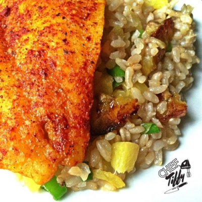 Steamed Flounder With Plantain-Pineapple Brown Rice