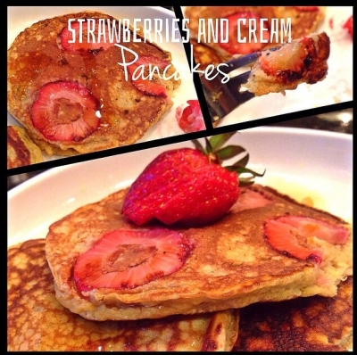 Strawberries and Cream Swirl Pancakes.
