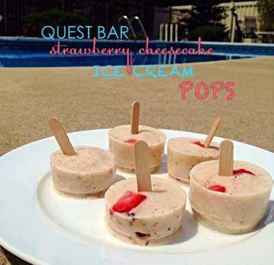 Strawberry Cheesecake Protein Ice Cream Pops