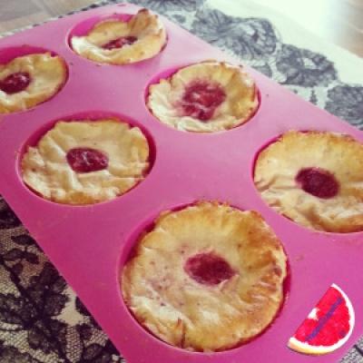 Strawberry Cream Candy Protein Muffins