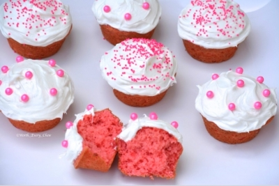 Strawberry Protein Cupcakes With Coconut Butter Frosting