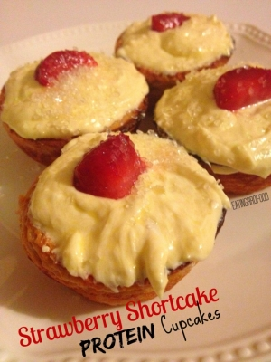 Strawberry Shortcake Protein Cupcakes