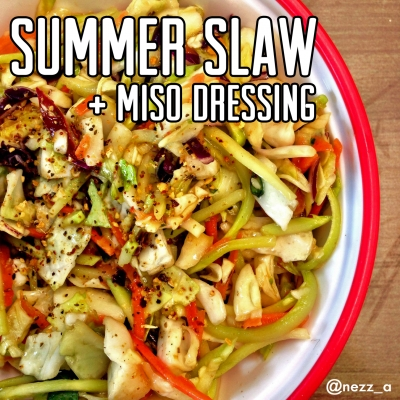 Summer Slaw & Ginger Miso Dressing