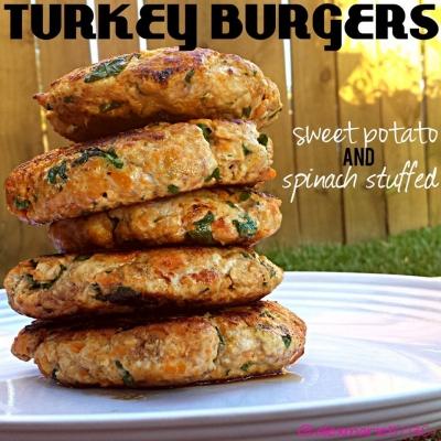 Sweet Potato & Spinach Turkey Burgers