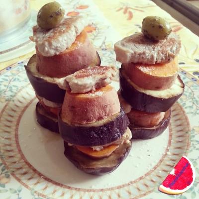 Sweet Potato Pesto Towers With Grilled Eggplant and Pork Tenderloin