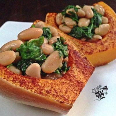 Sweet Spinach & White Bean Butternut Squash