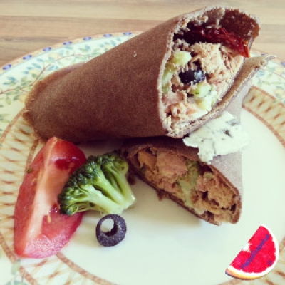 Teff Wrap With a Cheesy Smoked Tuna Filling