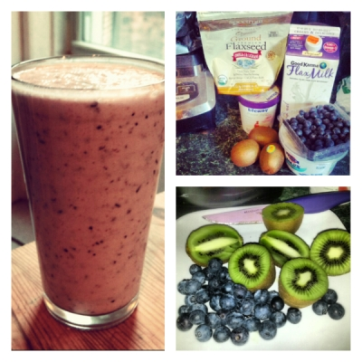 The Anti Aging Kiwi-Blueberry-Pom Protein Smoothie With Agave Drizzle