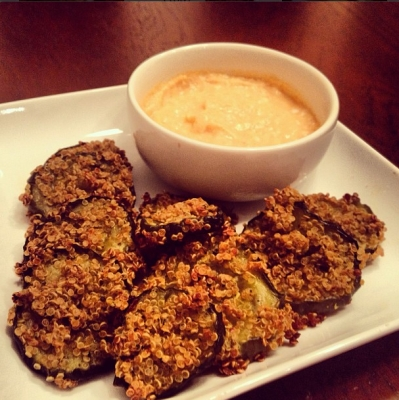 Three-Ingredient Quinoa Crusted Pickle Chips