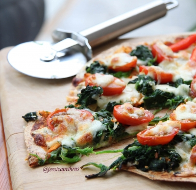 Tomato Spinach Pizza