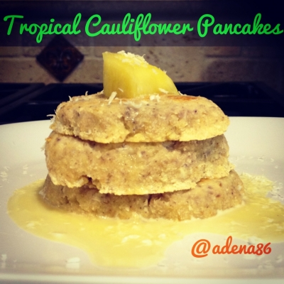 Tropical Cauliflower Pancakes With Banana Protein Syrup