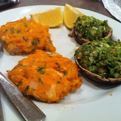 Tuna Sweet Potato Cakes With Green Stuffed Mushroom Caps