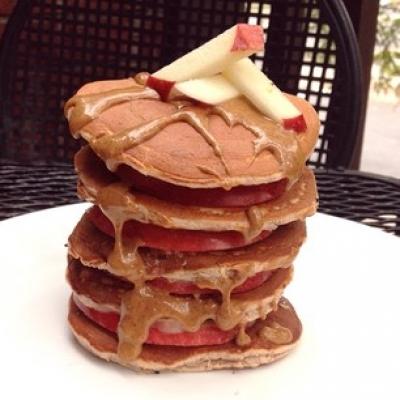 Vanilla Apple Almond Protein Pancakes
