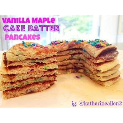 Vanilla Maple Cake Batter Pancakes